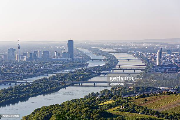 Austria, View to Vienna and Danube river