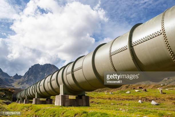 austria, vorarlberg, bielerhoehe, silvretta, water pipeline - pipeline stock pictures, royalty-free photos & images