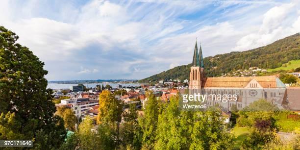 austria, vorarlberg, bregenz, lake constance, church of the sacred heart - vorarlberg stock-fotos und bilder