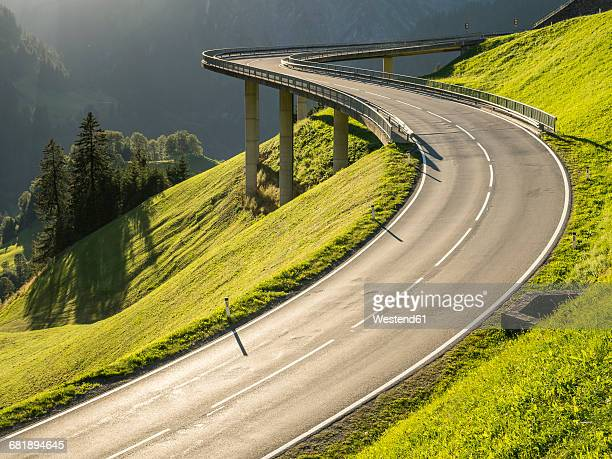 austria, vorarlberg, hochtannberg mountain pass - winding road stock pictures, royalty-free photos & images