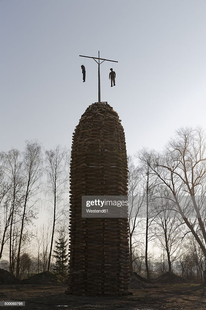 Austria, Vorarlberg, Rhine Valley, Lauterach, wood tower with witches for bonfire : Stock Photo