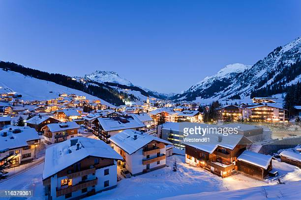 austria, vorarlberg, view of lech am arlberg at night - lech stock photos and pictures