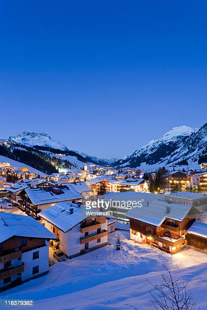 austria, vorarlberg, view of lech am arlberg at night - lech stock pictures, royalty-free photos & images