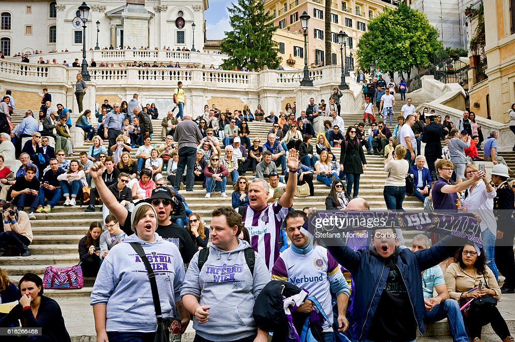 FK Austria Wien supporters on the Spanish Steps ahead of the UEFA Europa League match between AS Roma and FK Austria Wien, that will take place tonight at the Olympic Stadium on October 20, 2016 in Rome, Italy.
