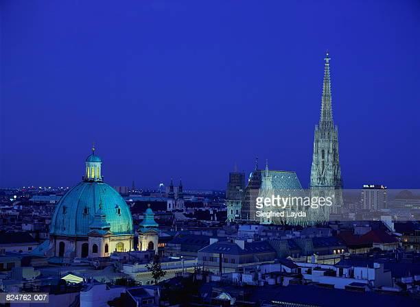 Austria, Wien, Vienna, Stephansdom and Peterskirche at night
