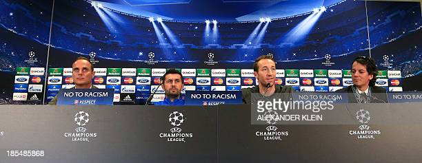 Austria Wien's Croatian head coach Nenad Bjelica and Austria Wien's defender and captain Manuel Ortlechner address a press conference in Vienna on...