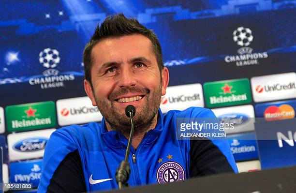 Austria Wien's Croatian head coach Nenad Bjelica attends a press conference on October 21 2013 in Vienna on the eve of the UEFA Champions League...