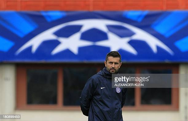 Austria Wien's head coach Nenad Bjelica attends a training session on September 17 2013 at the Ernst Happel stadium in Vienna on the eve of the group...