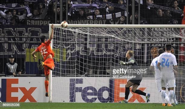 Austria Wien's midfielder Tarkan Serbest scores a goal during the UEFA Europa League Group D football match between HNK Rijeka and Austria Wien at...