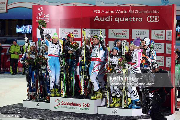 Austria win the gold medal Sweden wind the silver medal and Germany win the bronze medal during the Audi FIS Alpine Ski World Championships Nation's...