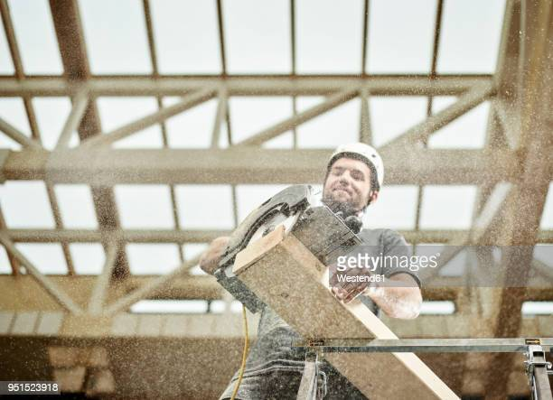 Austria, worker sawing wood