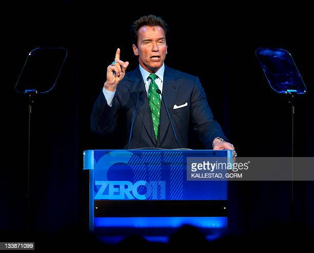 Austriaborn actor and former governor of California Arnold Schwarzenegger delivers a speech during the Zero Emission Conference at Gardermoen near...