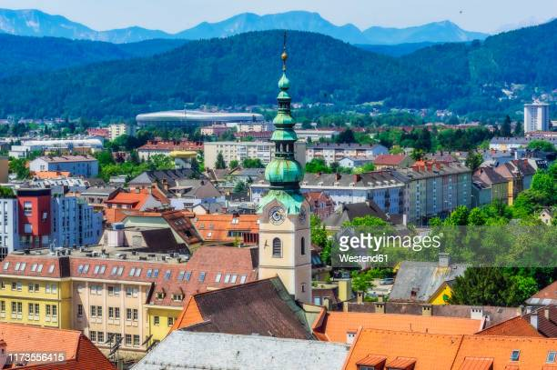 austria,†carinthia,†klagenfurt†am†worthersee, high angle view of city with church tower - クラーゲンフルト ストックフォトと画像