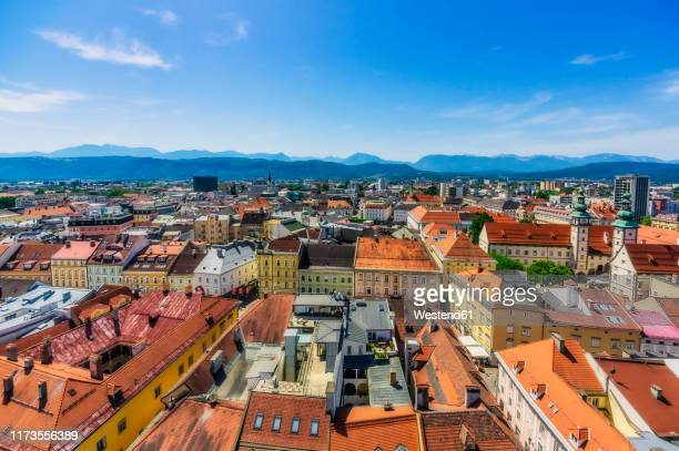 austria,†carinthia,†klagenfurt†am†worthersee, high angle view of old town - クラーゲンフルト ストックフォトと画像