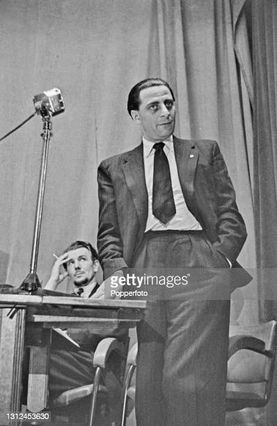 Austrian actor Charles Goldner speaks in a debate 'Should the Cinema and Theatre be used for propaganda' held at Melchett Hall in London, England...
