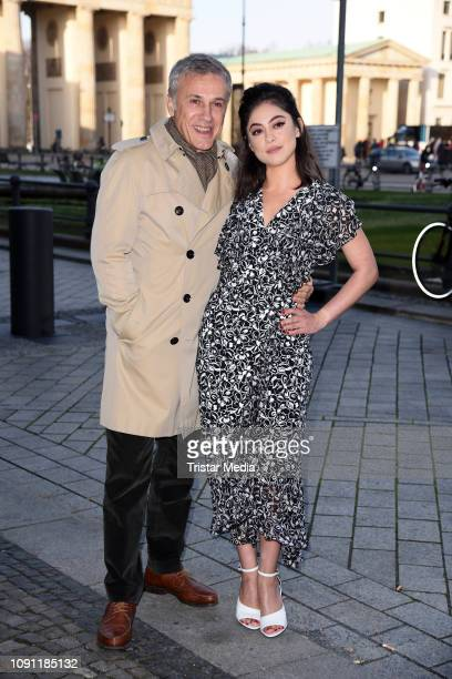 Austrian actor Christoph Waltz and US actress Rosa Salazar attend the 'Alita Battle Angel' photo call in front of the Brandenburg Gate on January 30...