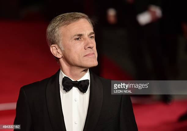 Austrian actor Christoph Waltz poses on arrival for the world premiere of the new James Bond film 'Spectre' at the Royal Albert Hall in London on...