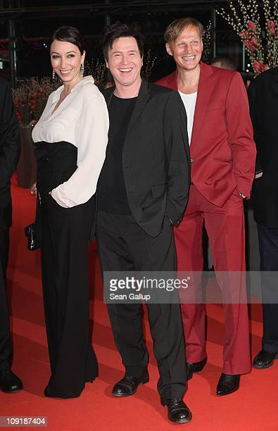 Austrian actor Georg Friedrich, actress Ursula Strauss and German actor Uwe Bohm attend the 'Mein Bester Feind' Premiere during day seven of the 61st...