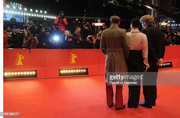 Austrian actor Georg Friedrich , German director Wolfgang Murnberger and German actress Ursula Strauss attend the 'Mein Bester Feind' Premiere during...