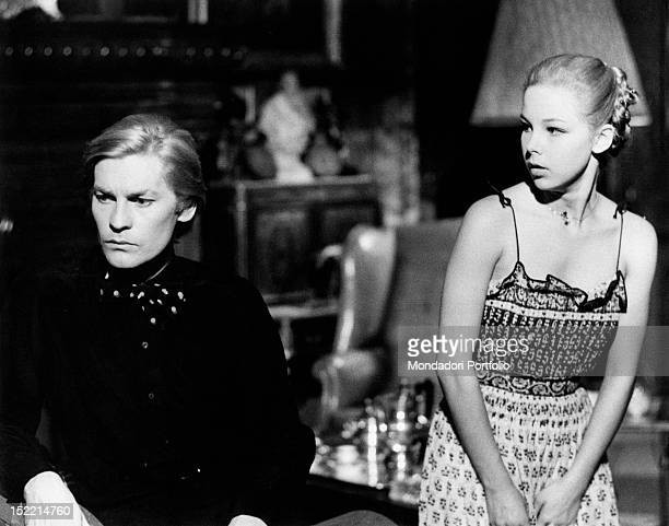 Austrian actor Helmut Berger and Italian actress Claudia Marsani acting in the film 'Conversation Piece' Rome 1974