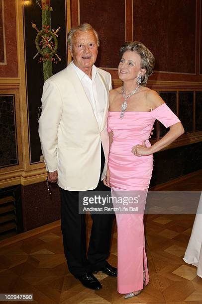 Austrian actor Helmuth Lohner and partner Elisabeth Guertler attend the amfAR Gala Vienna 2010 as part of the Life Ball 2010 at Parliament Of Austria...