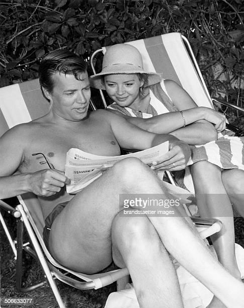 Austrian actor Karlheinz Böhm with his third wife polish actress Barbara Lass Poertschach Carinthia 1964