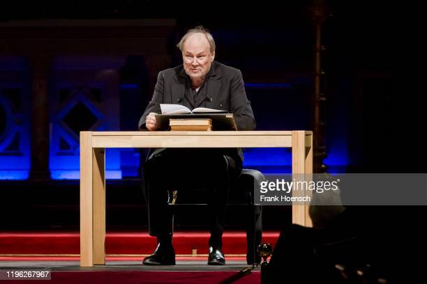 Austrian actor Klaus Maria Brandauer performs live on stage during a book reading at the Berliner Dom on January 25, 2020 in Berlin, Germany.