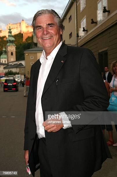 Austrian actor Peter Simonischek arrives for the opening concert of Salzburg summer festival on July 27 2007 in Salzburg Austria