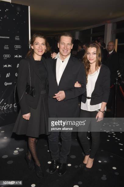 Austrian actor Tobias Moretti his wife Julia and their doughter Antonia arrive for the Kitz Race Club Party 2015 in Kitzbuehel Austria 24 January...