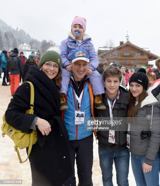Austrian actor Tobias Moretti his wife Julia and their three children Rosa Caecilia Lenz Valentino und Antonia pose at the Hahnenkamm Race in...