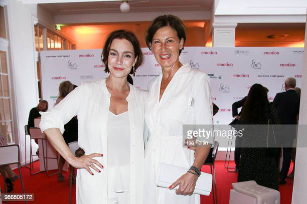 Austrian actress Aglaia Szyszkowitz and fashion designer Eva Lutz during the Emotion Award at Curio Haus on June 28 2018 in Hamburg Germany