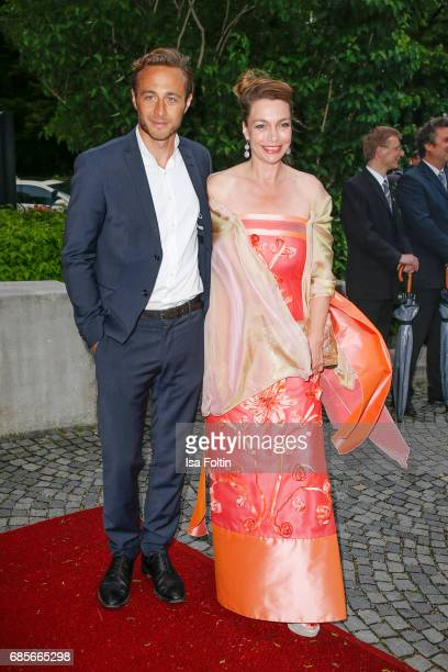 Austrian actress Aglaia Szyszkowitz and guest attend the Bayerischer Fernsehpreis 2017 at Prinzregententheater on May 19 2017 in Munich Germany