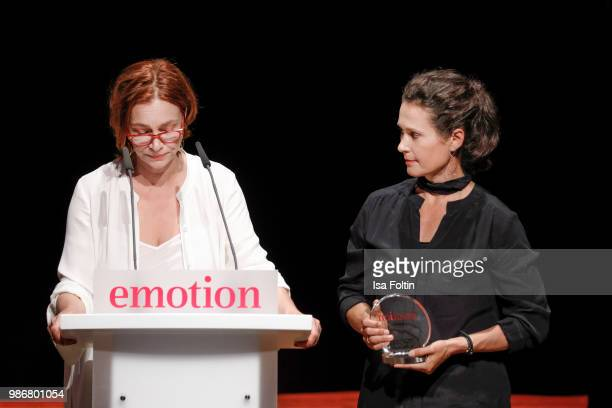 Austrian actress Aglaia Szyszkowitz and the award winner 'Frauen in Fuehrungspositionen' during the Emotion Award at Curio Haus on June 28 2018 in...