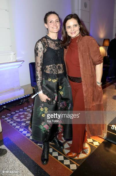 Austrian actress Elisabeth Lanz and her sister Barbara Lanz attend the Blue Hour Reception hosted by ARD during the 68th Berlinale International Film...