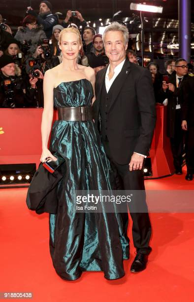 Austrian actress Feo Aladag and German actor Hannes Jaenicke attend the Opening Ceremony 'Isle of Dogs' premiere during the 68th Berlinale...