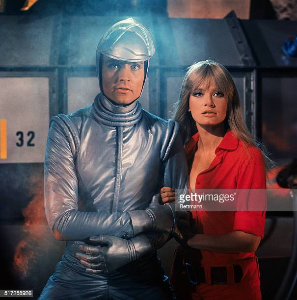 Austrian actress Marisa Mell and American actor John Phillip Law during filming of motion picture Diabolik. The film is the first screen version of...