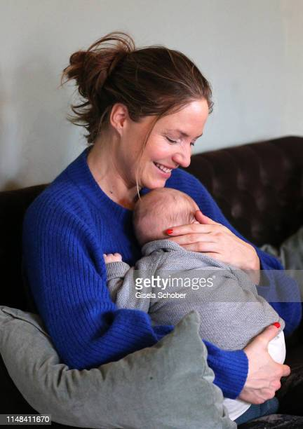 Austrian actress Patricia Aulitzky poses with her baby boy Maximilian during a photo session on February 13, 2019 in Berlin, Germany.