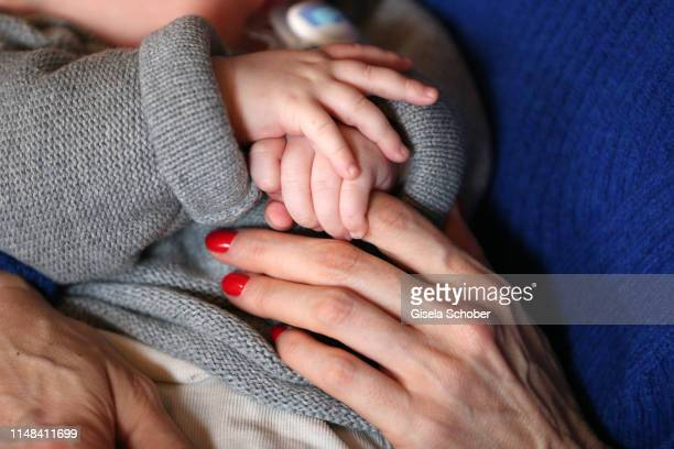 Austrian actress Patricia Aulitzky poses with her baby boy Maximilian during a photo session on February 13 2019 in Berlin Germany