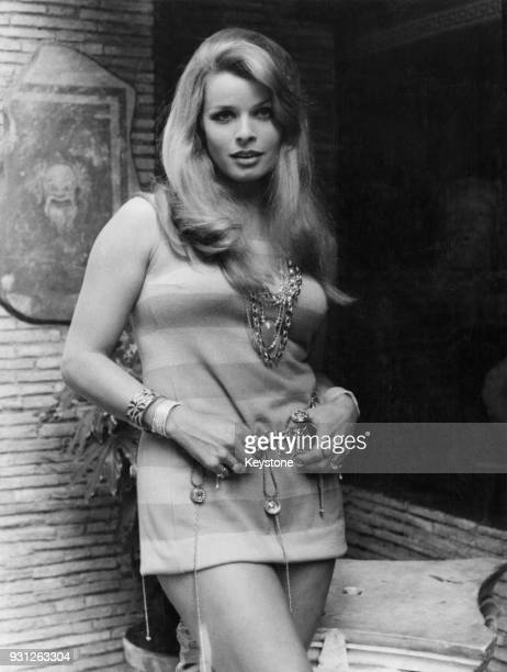 Austrian actress Senta Berger in Rome for the filming of 'If It's Tuesday This Must be Belgium' 26th August 1968 She is dressed for her part in the...