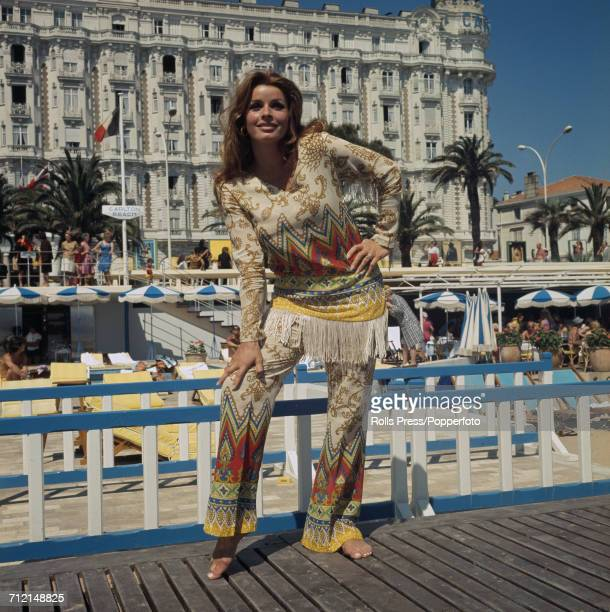 Austrian actress Senta Berger posed wearing a native american style outfit on Carlton Beach in front of the Carlton Hotel in Cannes France on 3rd...