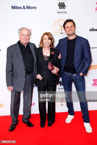 Austrian actress Senta Berger with her husband producer Michael Verhoeven and her son Simon Verhoeven attend the Jupiter Award at Cafe Moskau on...