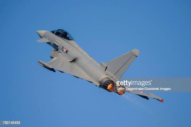 Austrian Air Force Eurofighter plane taking off.