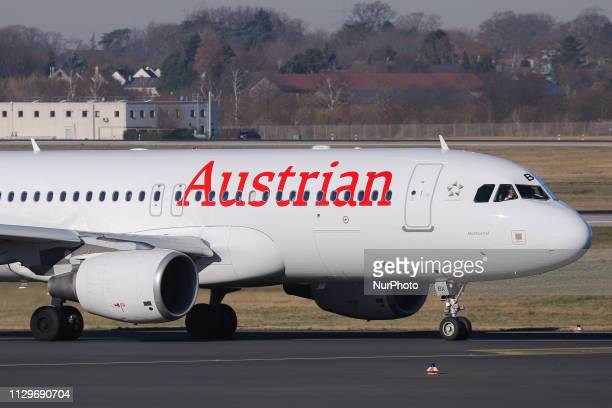 Austrian Airlines Airbus A320214 aircraft with registration OELBX taxiing for takeoff in Dusseldorf Airport DUS EDDL in Germany The aircraft name is...