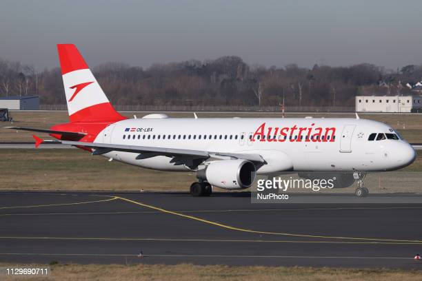 Austrian Airlines Airbus A320-214 aircraft with registration OE-LBX taxiing for takeoff in Dusseldorf Airport DUS EDDL in Germany. The aircraft name...