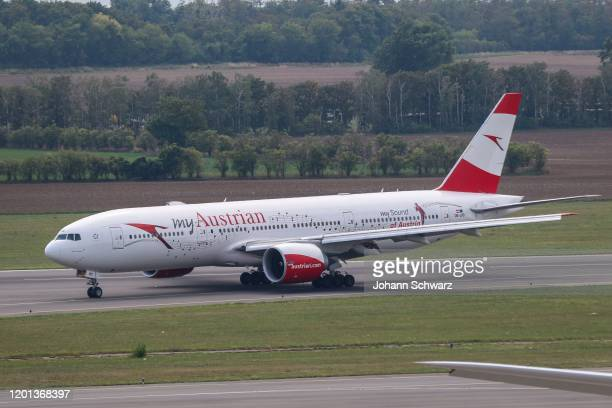 Austrian Airlines Boing 777200 during the Austrian Airlines at Airport Vienna on February 13 2020 in Schwechat Austria