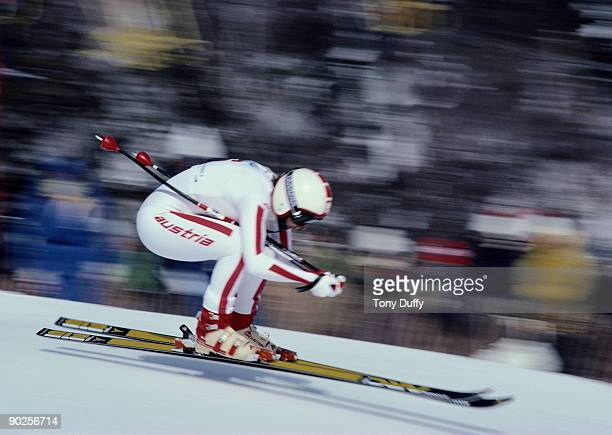 Austrian alpine ski racer Annemarie MoserProell takes part in the Alpine Skiing World Cup Women's Downhill Event at Lake Placid New York State 1979