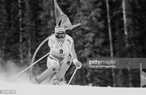 Austrian alpine ski racer Gunther Mader pictured in action during competition to fail to finish in the Men's combined event at Nakiska on Mount Allan...