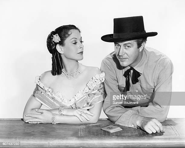 Austrian American actress Hedy Lamarr and Welsh actor Ray Milland on the set of Copper Canyon directed by John Farrow