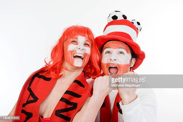 austrian and swiss football supporters, soccer fans, euro 2008 - austrian culture stock pictures, royalty-free photos & images