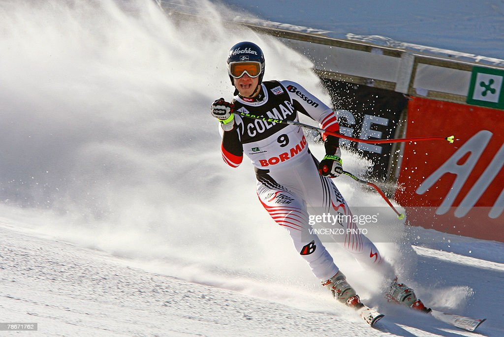 Austrian Andreas Buder celebrates in on the finish area of the Men's FIS Alpine World Cup Downhill event in Bormio, 29 December 2007. American Bode Miller claimed his first World Cup victory of the season ahead of Austrian Andreas Buder and Jan Hudec of Canada.